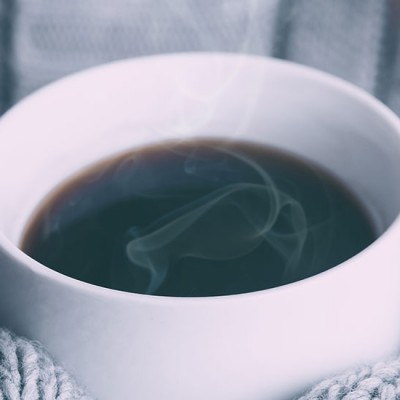A cup of coffee in a cold winter day