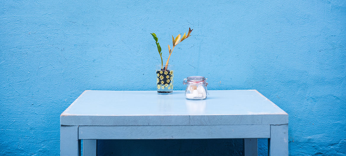 Minimalist table with flowers